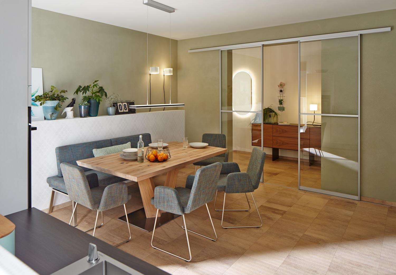 Sliding glass doors for open interior design